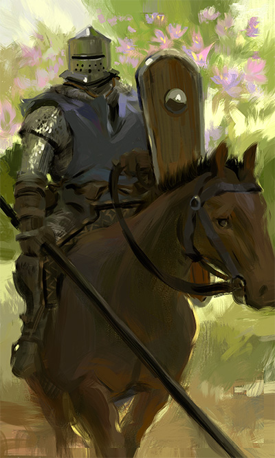 Horse riding medieval knight