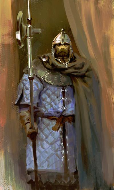 Castle guard with pole axe